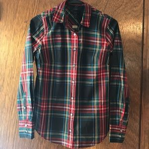 J.Crew Perfect Fit Plaid Button Down—brand new!